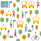 Seamless urban city pattern. Public transport and people. Wrapping paper vector template.