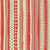 seamless tribal pattern, vertical orientation, striped print for textiles, red, white and gray colors, vector illustration