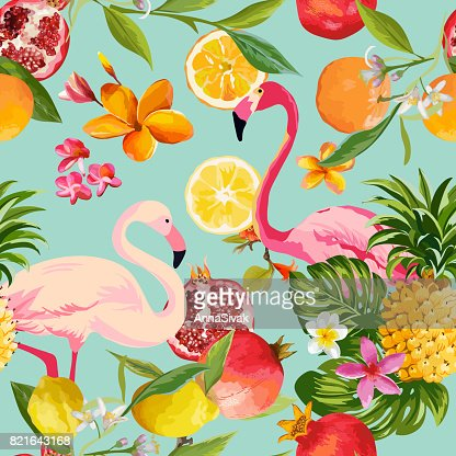 Seamless Tropical Fruits and Flamingo Pattern in Vector. Pomegranate, Lemon, Orange Flowers, Leaves and Fruits Background. : stock vector