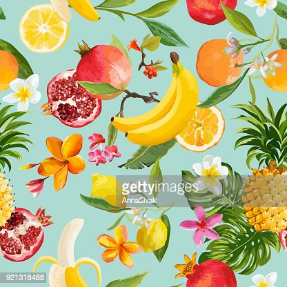 Seamless Tropical Fruits Pattern. Exotic Background with Pomegranate, Lemon, Flowers and Palm Leaves for Wallpaper, Wrapping Paper, Fabric. Vector illustration : stock vector
