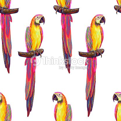 Seamless tropical pattern with exotic parrot bird