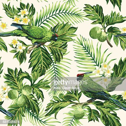 Seamless tropical pattern with leaves, flowers and parrots. : stock vector