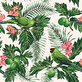 Seamless exotic tropical pattern with leaves, fruits, flowers and birds. Breadfruit, palm, plumeria, parrots. Vector illustration.