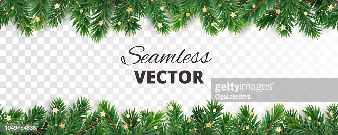 Seamless vector decoration isolated on white. Christmas tree frame, garland with ornaments : Vector Art