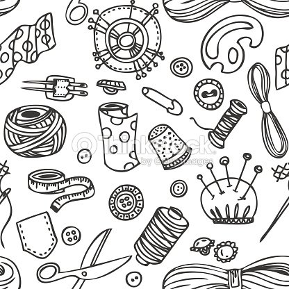Nahtloser Vektor Doodle Nähen Und Needlework Muster Vektorgrafik ...