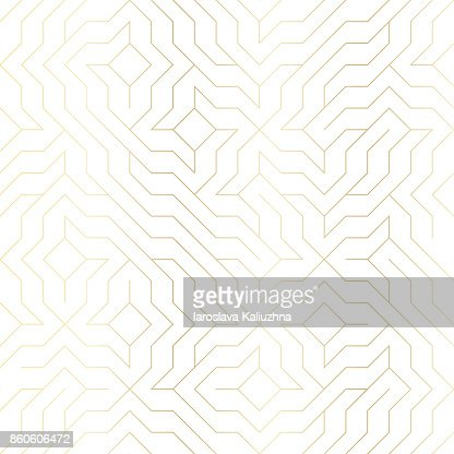 Seamless vector geometric golden line pattern. Abstract background with gold texture on white. Simple minimalistic graphic print. Repeating modern swatch trellis grid. Trendy hipster sacred geometry : arte vetorial