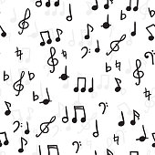Seamless vector pattern of music notes. Wallpaper, black and white background.