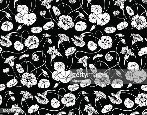 Seamless vector pattern with  nasturtium flowers and leaves on black background : stock vector