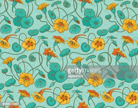 Seamless vector pattern with red and yellow nasturtium flowers and leaves on turquoise background : stock vector