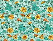 Seamless pattern with red and yellow nasturtium flowers and leaves on turquoise background. Suitable for backgrounds, textile, wrapping paper.