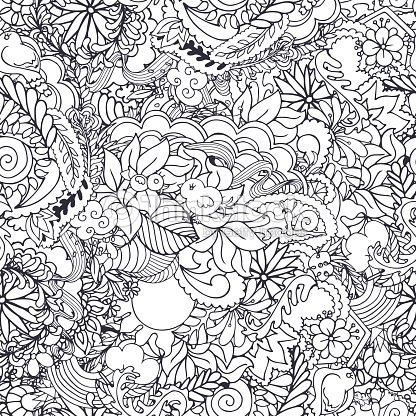 Seamless Vector Pattern With Spring Elements In Black And White