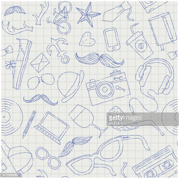 Seamless vector with hand drawn hipster gadgets