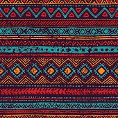 seamless vintage pattern, grungy texture, ethnic and tribal motifs, blue, orange, red, purple colors, vector illustration