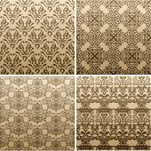 seamless vintage wallpaper abstract ornament background set