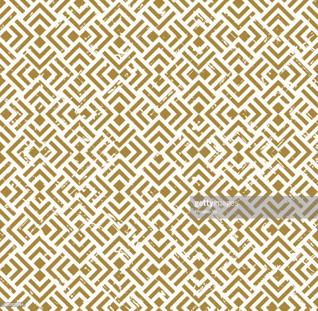 Seamless vintage worn out golden crossed diamond check square background. : Vector Art