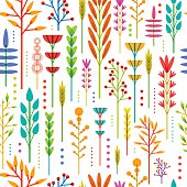 Seamless wallpaper with color, bright, vertical pattern of geometric flowers, plants, twigs, berries in a modern, Scandinavian, ethnic style. Vector