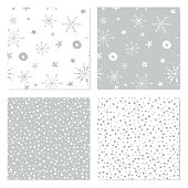 Holiday themed seamless patterns for wrapping paper, textile and wallpaper.
