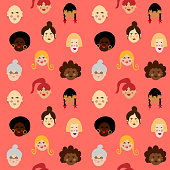 Seamless women diversity pattern. Perfectly usable for all women related projects.
