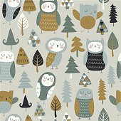 Vector seamless background with cute owls and trees in cartoon style