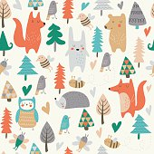 Seamless background with cute forest animals and trees in cartoon style