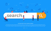 Flat design concept team building search bar for best result ranking page. Vector illustrations.