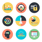 Search Engine Optimization internet marketing icons in flat colorful style. Statistics, focus group, link building, strategic planning, safety, competitve analysis