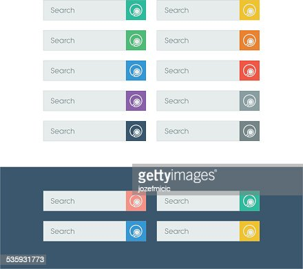 Search flat design icons set in colorful bars for graphic : Vector Art