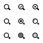 search icons set, black on white background