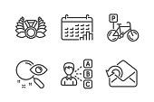Search, Laureate medal and Bicycle parking icons simple set. Opinion, Calendar graph and Send mail signs. Find document, Laurel wreath. Business set. Line search icon. Editable stroke. Vector