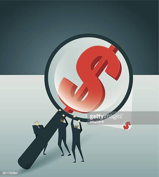 La recherche, la loupe, Symbole monétaire