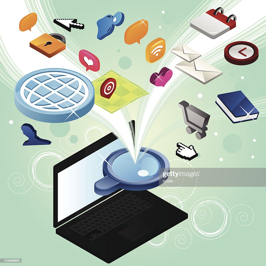 Searching the web with laptop : Vector Art