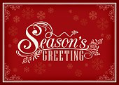 Season greeting word vintage frame design on red background