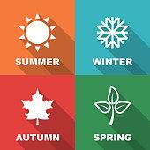 season long shadow flat, vector symbols