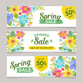 Spring sale horizontal banner templates with colorful flowers background. Perfect for vouchers, flyers, invitations, brochures, web banners and coupon discount. Vector illustration.