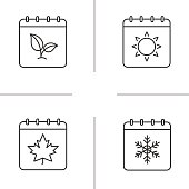 Seasons calendar linear vector icons. Thin line. Calendars with maple leaf, plant, sun and snowflake