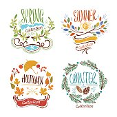 Nice creative signs on 4 seasons with hand-drawn leafy ornament and lettering: spring, summer, autumn and winter.