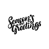 Seasons Greetings, hand lettering on red background. Vector Christmas illustration. Happy Holidays greeting card, poster template.