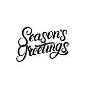 Seasons Greetings hand written lettering design. Modern brush calligarphy for Christmas card. Isolated on background. Vector illustration.