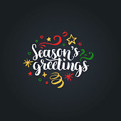Seasons Greetings lettering on black background. Vector hand drawn Christmas illustration. Happy Holidays greeting card, poster template.