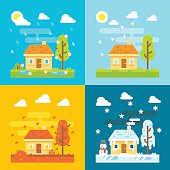 4 seasons house flat design set illustration vector