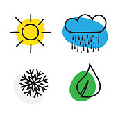 Seasons - winter, spring, summer and autumn. Four seasons icon set. Vector illustration isolated on white background