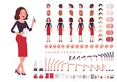 Secretary character creation set. Full length, different views, isolated against white background. Build your own design. Cartoon flat-style infographic illustration