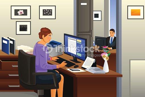 secr taire au bureau clipart vectoriel thinkstock. Black Bedroom Furniture Sets. Home Design Ideas