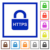 Secure https protocol flat color icons in square frames on white background