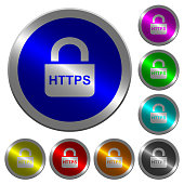 Secure https protocol icons on round luminous coin-like color steel buttons