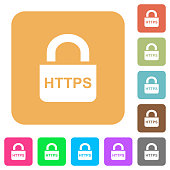 Secure https protocol flat icons on rounded square vivid color backgrounds.