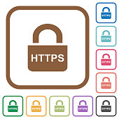Secure https protocol simple icons in color rounded square frames on white background