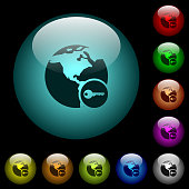 Secure internet surfing icons in color illuminated spherical glass buttons on black background. Can be used to black or dark templates