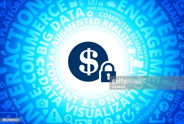 Secure Money Icon on Internet Modern Technology Words Background
