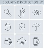 Security, business data protection outline icons: lock, key, shield, padlock, umbrella. Vector thin line symbol and sign set. Isolated infographic elements for web, presentations, social networks.